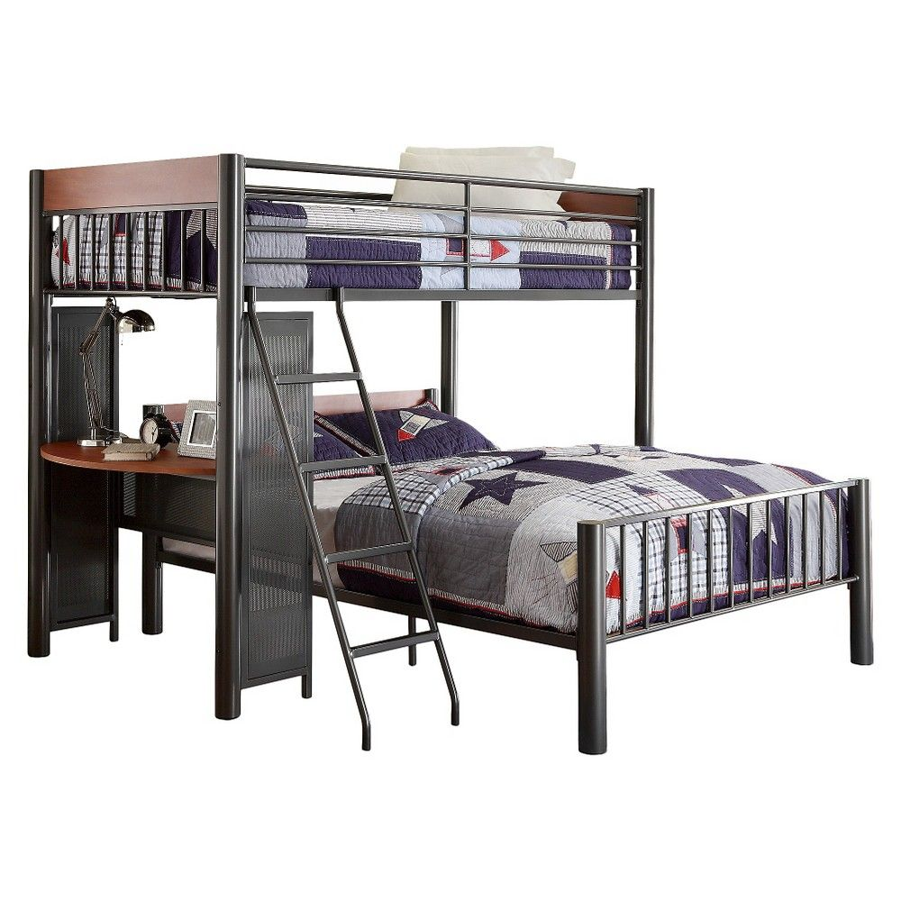 Grey loft bed with desk  Brady Bunk Bed with Desk TwinFull  Homelegance Grey  Bunk bed