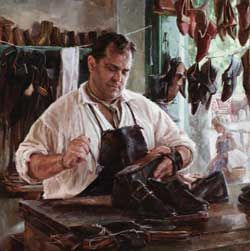 Colonial shoemaker meadow gist art people at work pencil a cobblers shop colonial era series by meadow gist american impressionist painter illustrator sciox Images