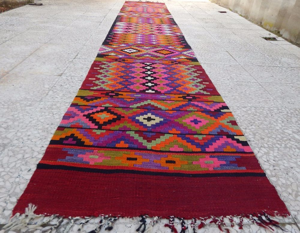 14 Foot Extra Long Handmade Pink Kilim Rug Runner,Colorful Wool Hallway Rugs