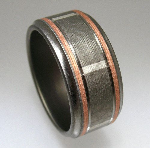 hammered titanium silver rose gold wedding ring comfort fit - Mens Rose Gold Wedding Rings