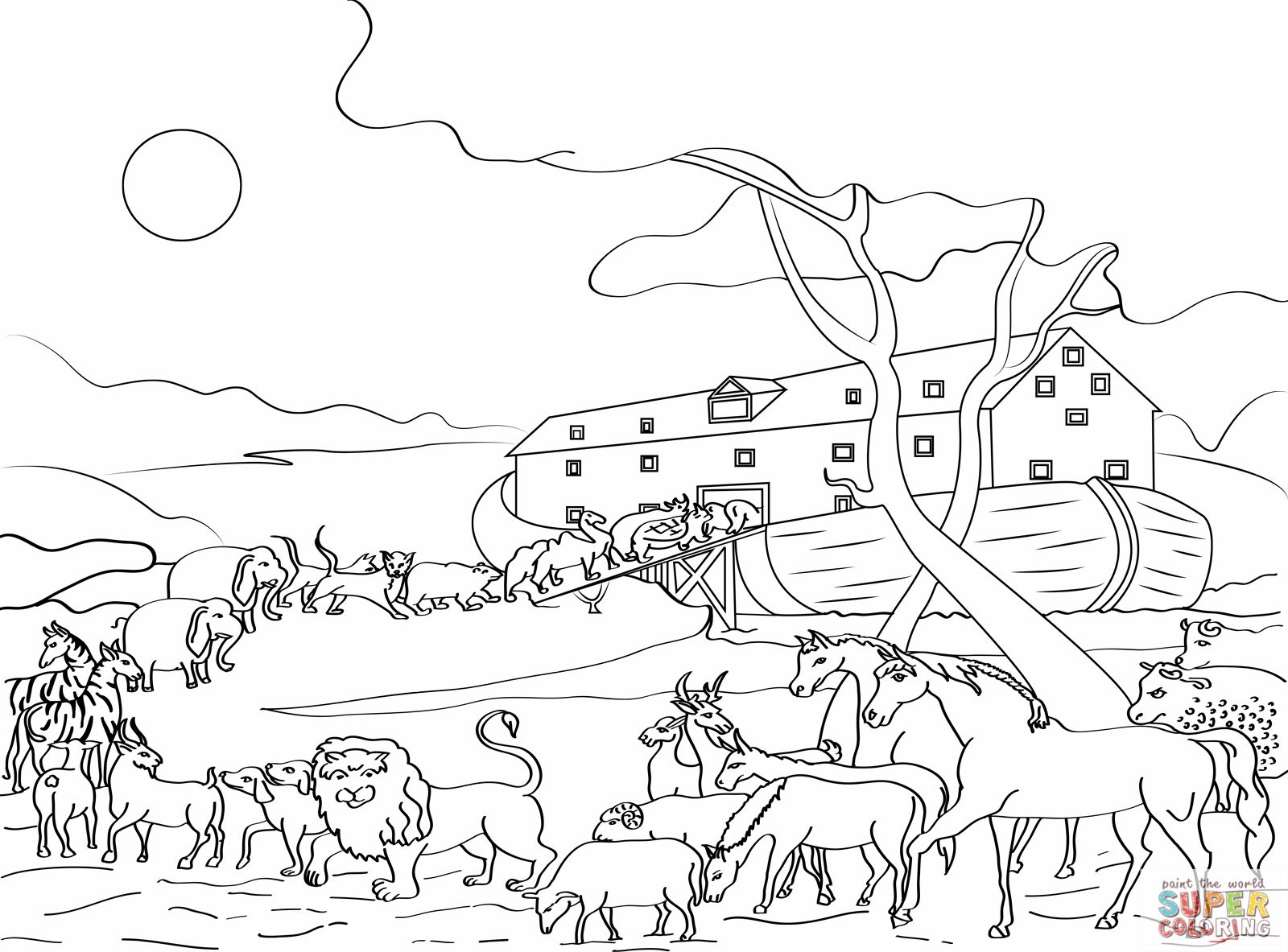 animals loading noahs ark coloring pages online - Noahs Ark Coloring Page 2