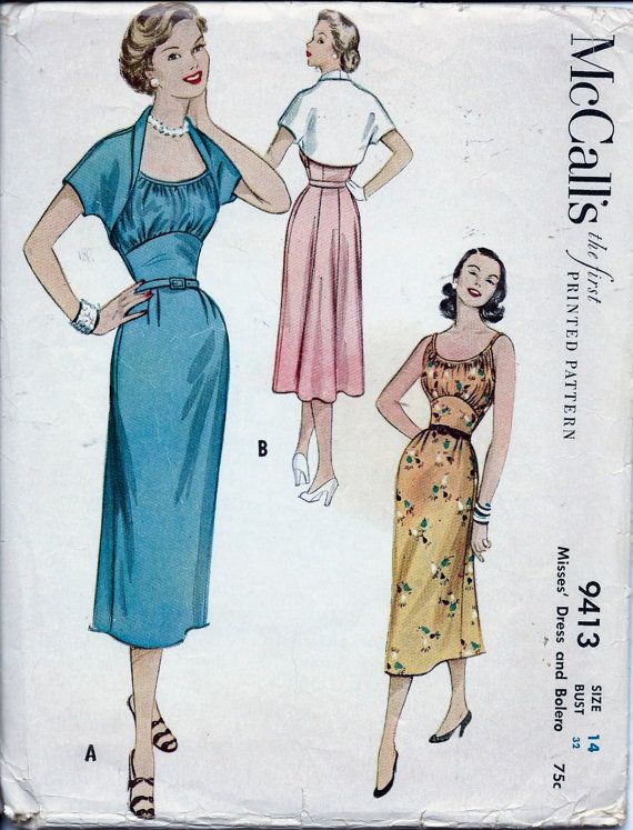 Vintage 1950s Sleeveless Dress And Bolero Jacket Sewing Pattern 9413 ...