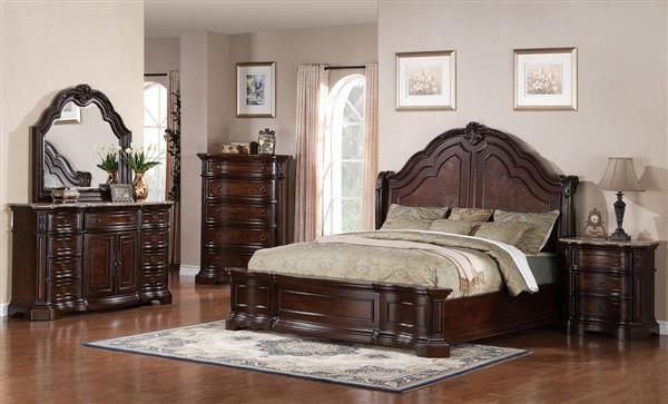 Edington Traditional Dark Brown Wood Master Bedroom Set Platform Bed Designs Bed Design Bed Furniture