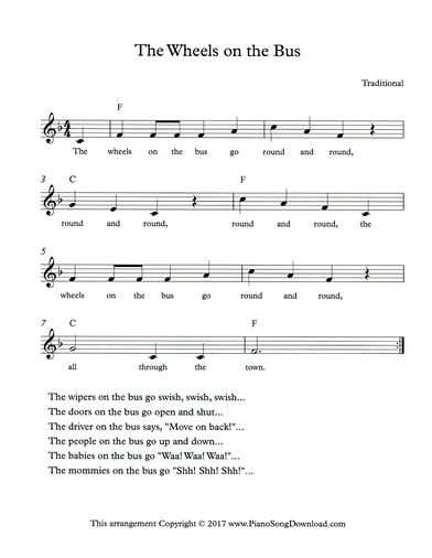 The Wheels On The Bus Free Lead Sheet With Melody Chords And
