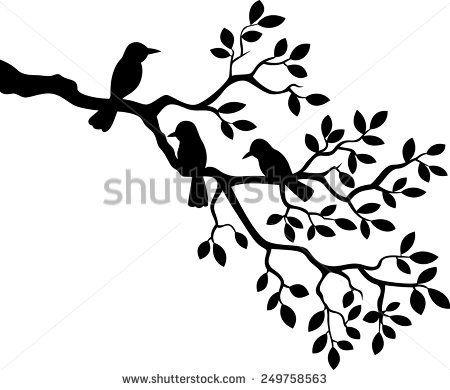Tree silhouette with bird #birdfabric