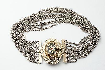 Biedermeier Kropfkette Trachtenkette Kropfband 14k 585 Gold Schaumgold Emaille