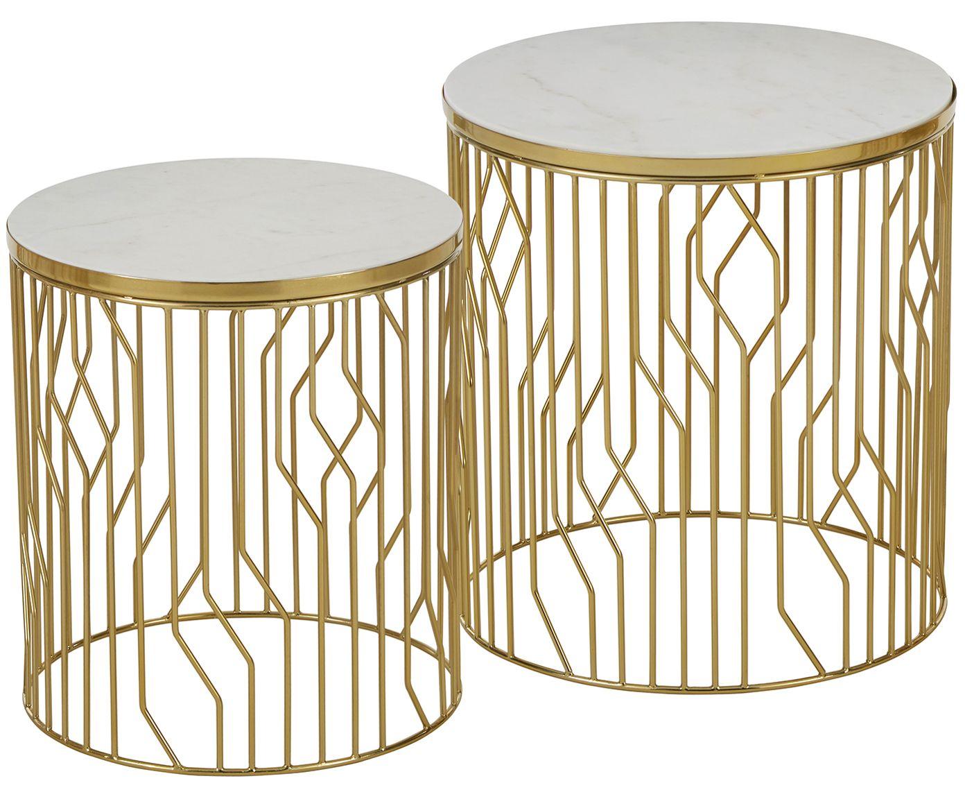 Marmor Beistelltisch Set Emerson 2 Tlg In Weiss Gold Aus Metall Marmor Von Anderson Online Kaufen Gra Marmor Beistelltisch Beistelltisch Beistelltische Set
