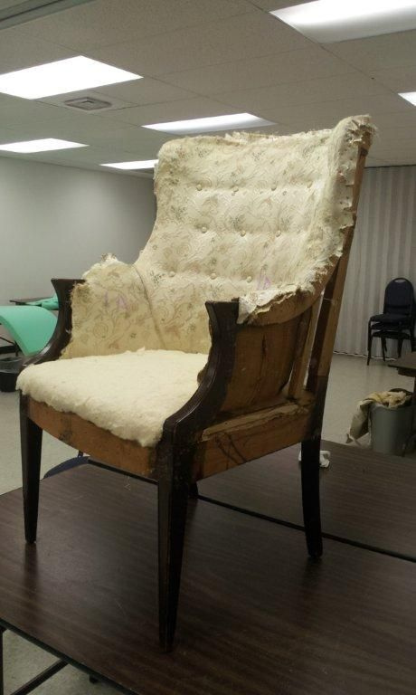 One thing we have discovered about thrift store and estate sale furntiture– you can usually pick it up inexpensively if it needs to be reupholstered. We assume this is because it is NOT che…