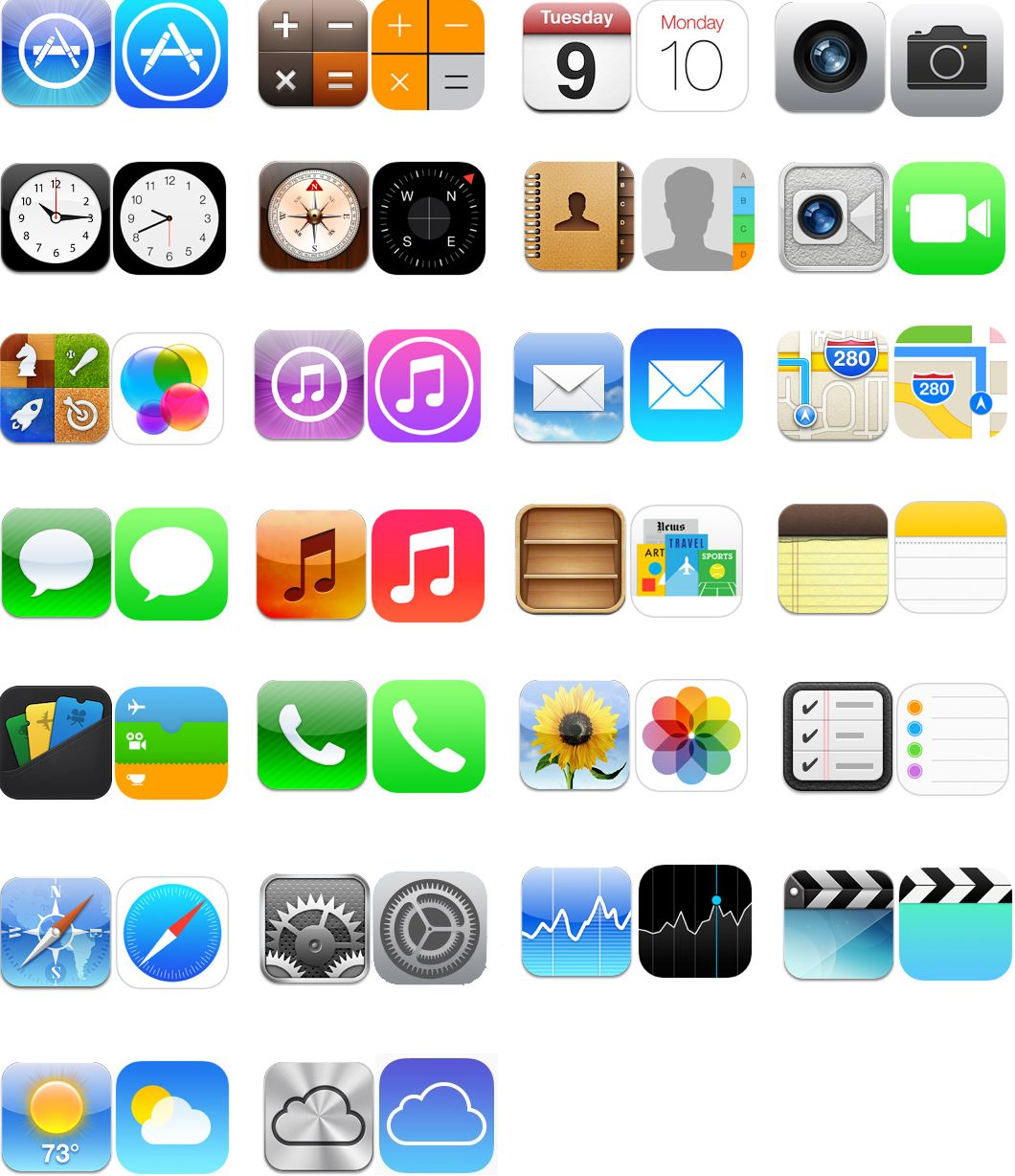 ios6 vs ios7 icons iOS 7 Vs. iOS 6 Comparing The Home