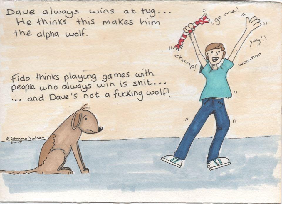En weer een wijze les ... het Alpha principe is al lang achterhaald! Laat je hond ook eens winnen met een spelletje, hou het leuk voor je hond. Als je zelf altijd verliest met bijv. Mens-erger-je-niet of een ander spel gaat de lol er ook snel van af!
