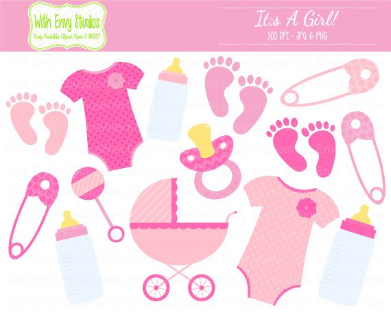 Baby Girl Clipart - Baby Shower Clipart - Pink Clip Art - Pink ...