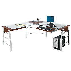 Realspace Mezza 62 W L Shaped Desk Cherry Chrome Item 620475 Glass Computer Desks Glass Desk L Shaped Glass Desk