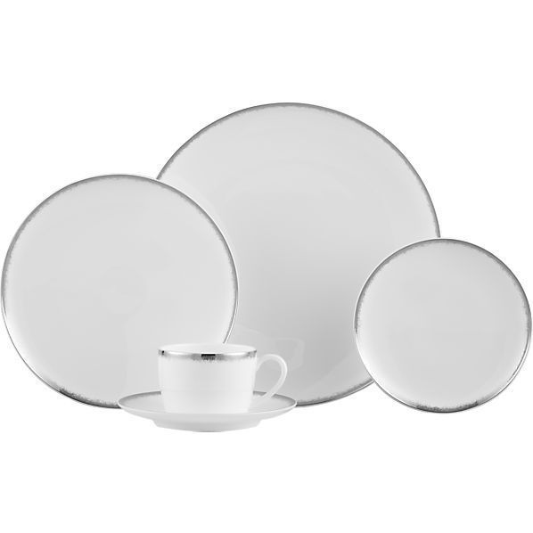 Crate And Barrel Wedding Gifts: Crate & Barrel Silver Border Dinnerware #china