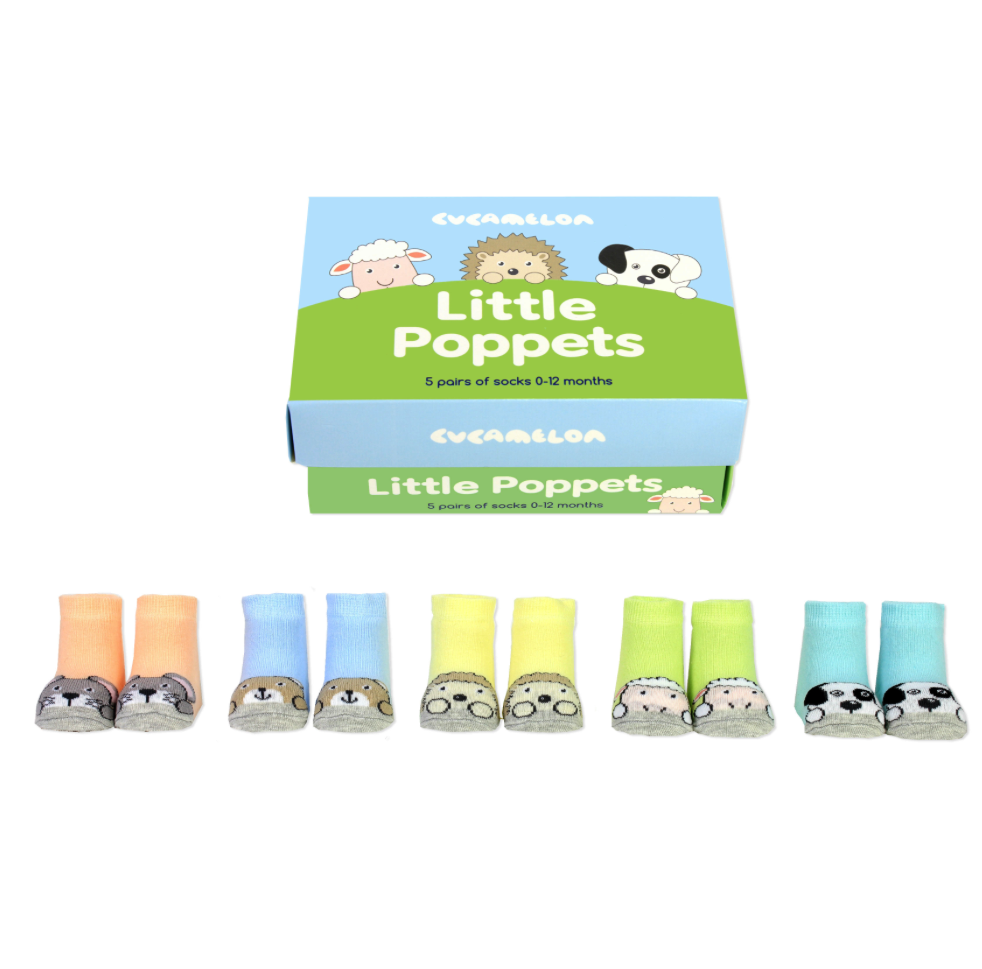 Cucamelon Baby Molly /& Lulu 5 Pairs of Socks 0-12 Months Giftboxed