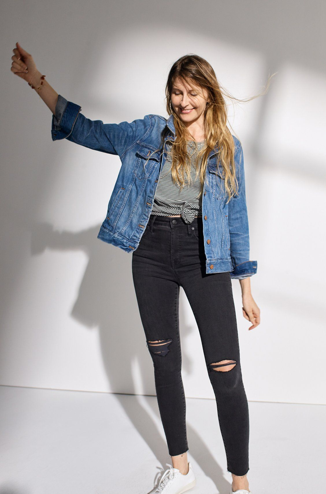 madewell curvy high-rise skinny jeans worn with the jean jacket ... 18dc48214082