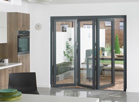 Supreme Aluminium Bi Fold Doors 7ft Grey Supreme