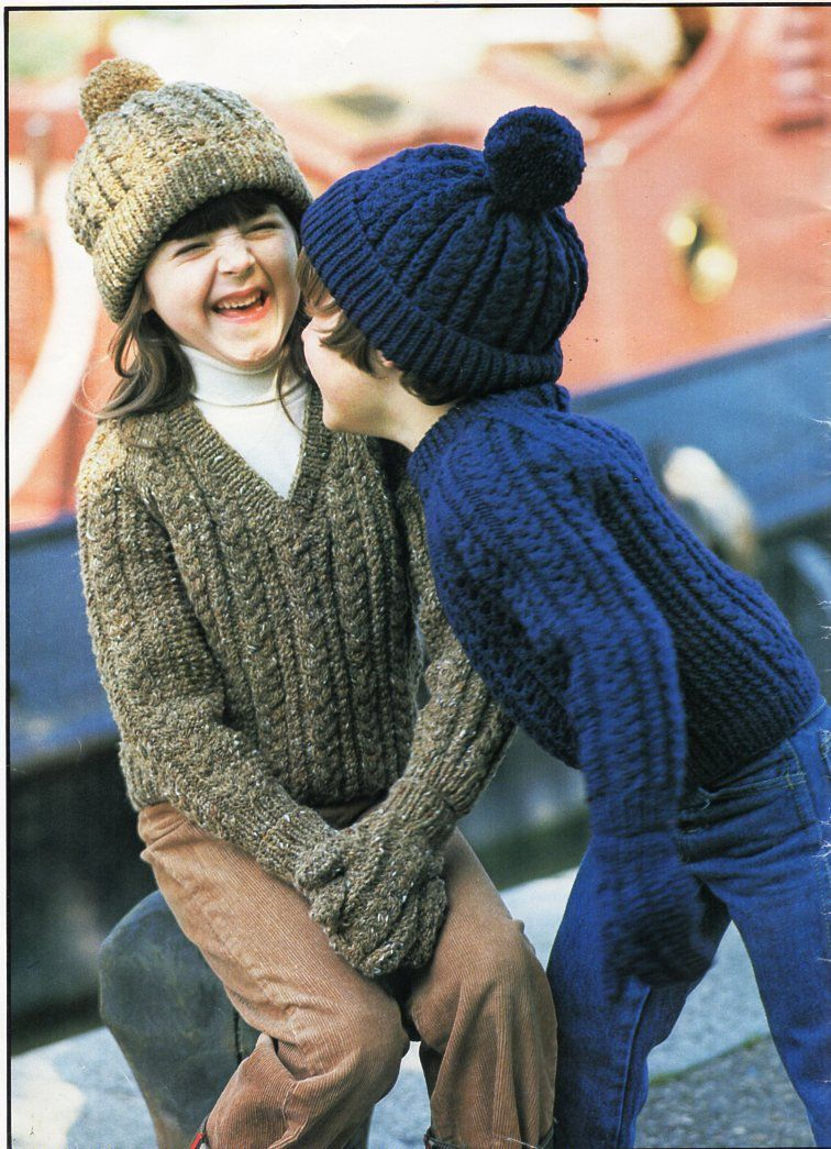 a2b394ae8 Vintage childrens aran sweater hat mitts knitting pattern pdf cable ...