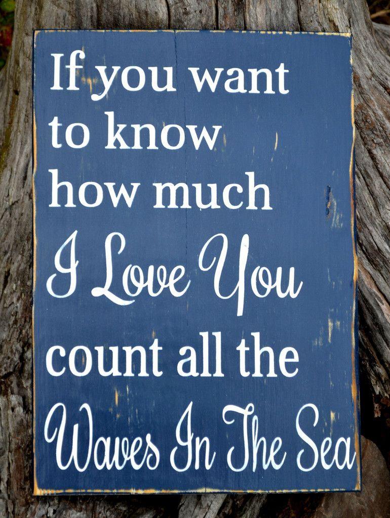 Beach Wooden Sign Nautical Nursery Decor Love Quote Wall Art ...