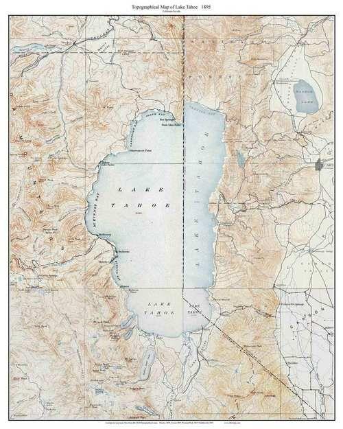 Lake Tahoe 1895 - Custom USGS Old Topo Map - California | California ...