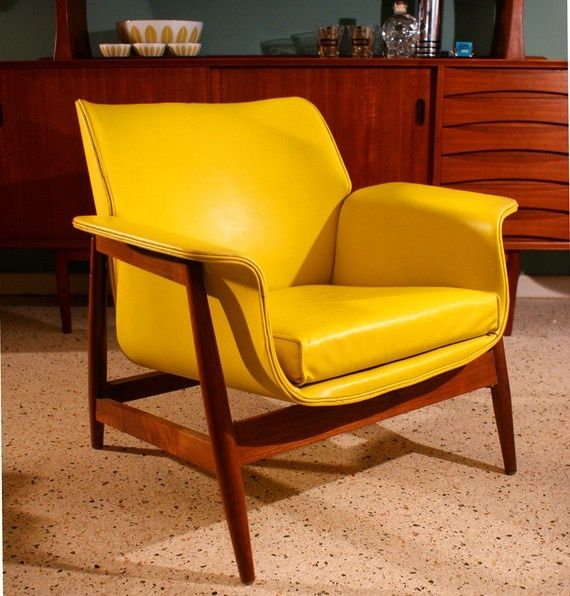 Vintage Mid Century Danish Modern 1960s Bright Yellow Vinyl Lounge Chair