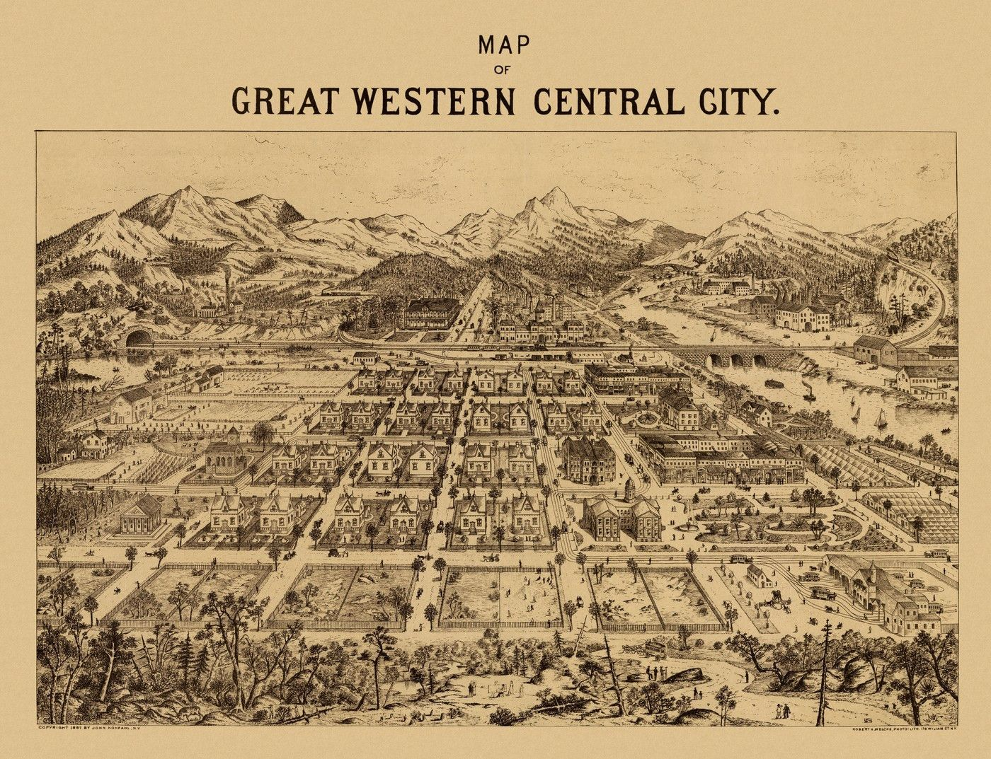 Map Of Central City Colorado 1887 Year 1887 City Central City