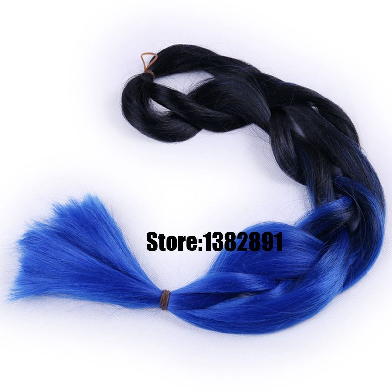 Find More Bulk Hair Information About Free Shipping Ombre Xpression Blue Braiding 24 100g Synthetic Two Tone Black To Kanekalon Jumbo Braid