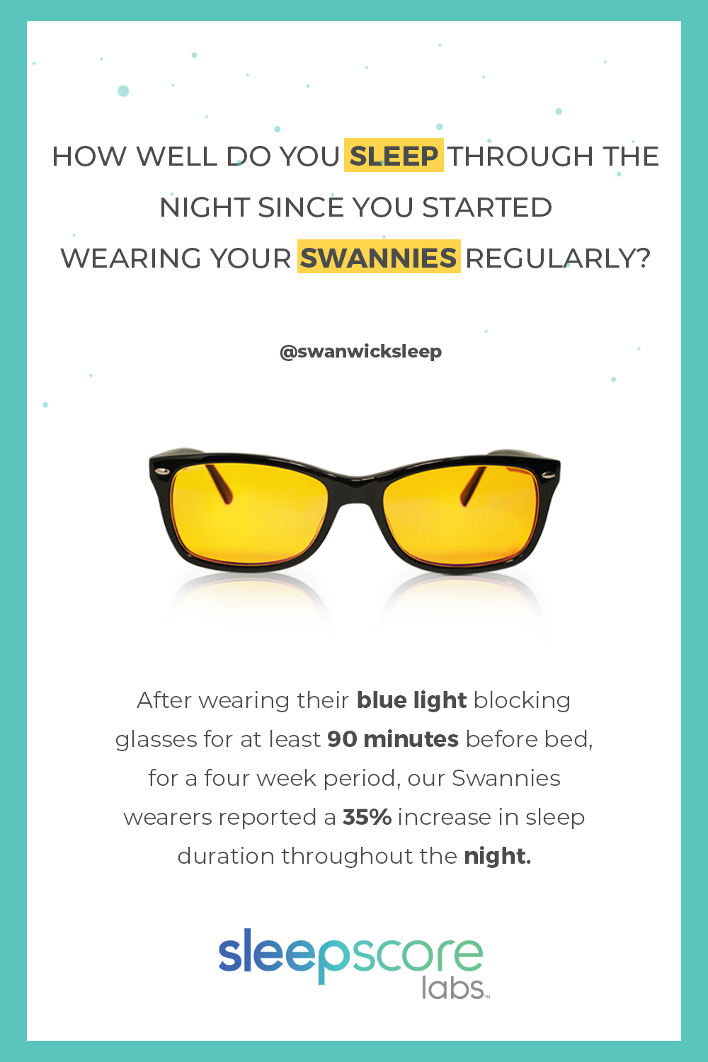 12fccdad46 Swannies Blue Light Blocking Glasses can help you sleep better through the  night. That s what our recent SleepScore product validation study results  show.