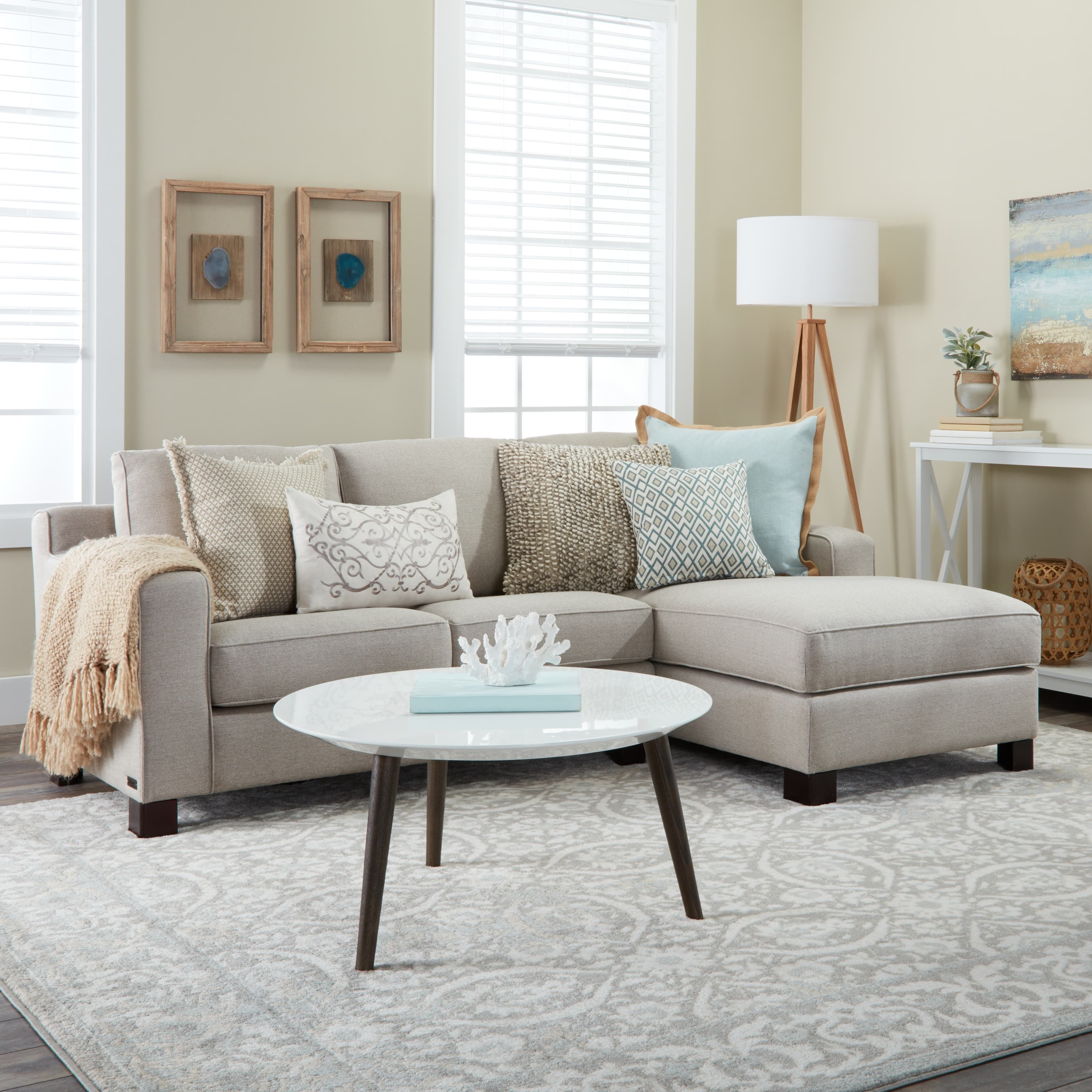 Abbyson Sectional Sofa With Chaise In Light Grey In 2020