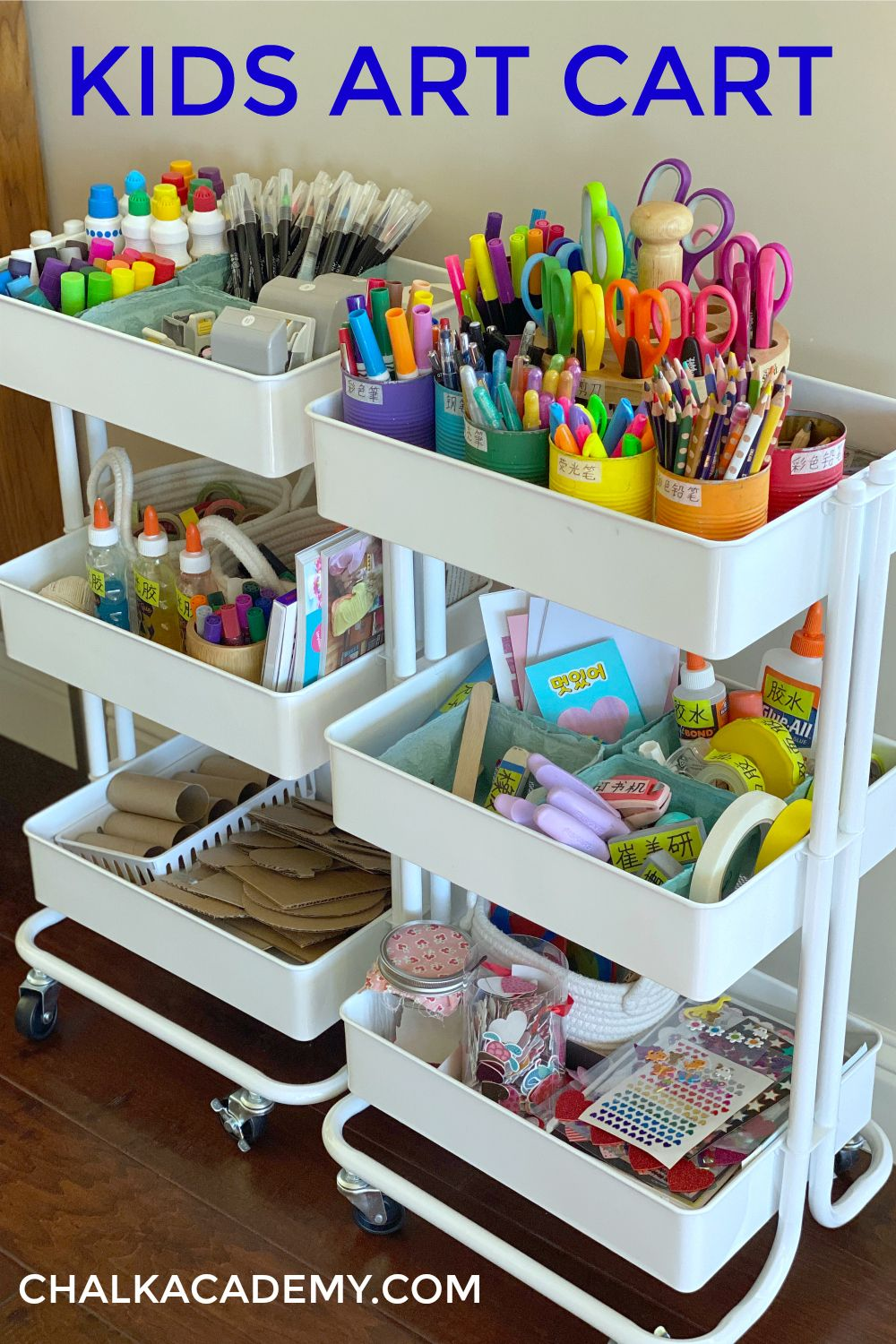 Photo of Kids Art Cart, Storage System, and Organization Tips