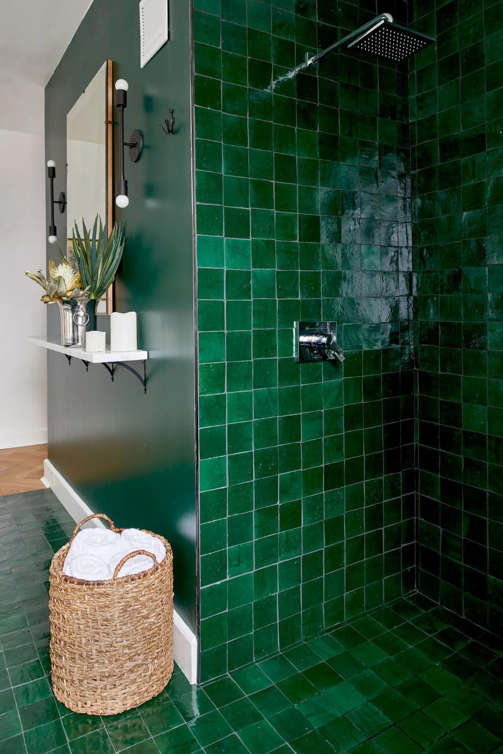 Secret Lagoon Zellige 4 X4 X3 8 Green Bathroom Green Tile Bathroom Moroccan Tile Bathroom