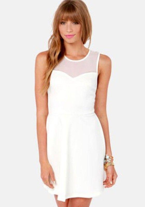 Plain white dress cheap