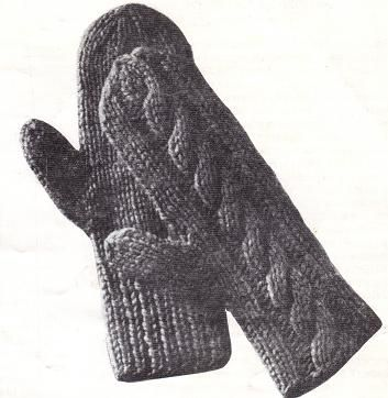 Mittens Knit On Two Needles - A Pair of Cables pattern ...