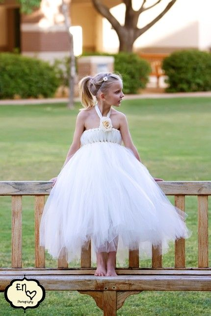 Flower Girl Ponytail Hairstyle With Tulle Tutu Dress Http