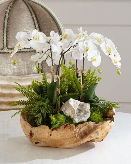 White Orchid Faux-Floral Arrangement in Wooden Bow