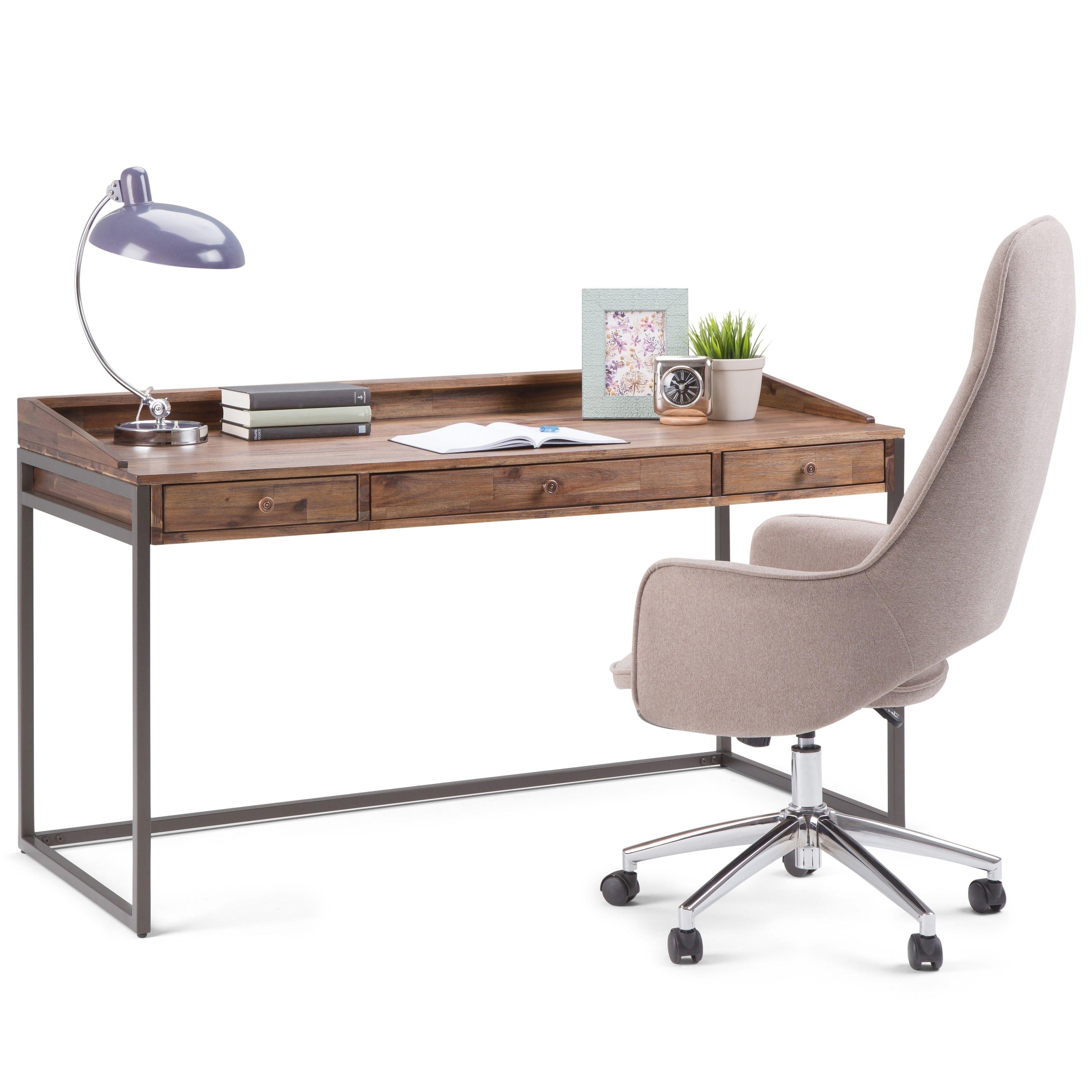 Wyndenhall brinkley modern industrial solid acacia wood metal grey desk