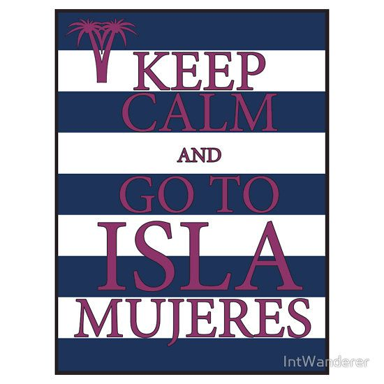 KEEP CALM AND GO TO ISLA MUJERES - PALM - Navy/Pink