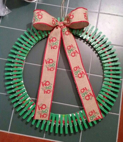 Christmas Clothespin Wreath 2.0, added decoupage wrapping paper to the base of it this time for a much better look.