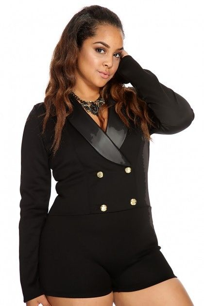 20d3c2fd61 Plus Size Black Tuxedo Shorts Romper | Sophisticated Sexy Lifestyle ...