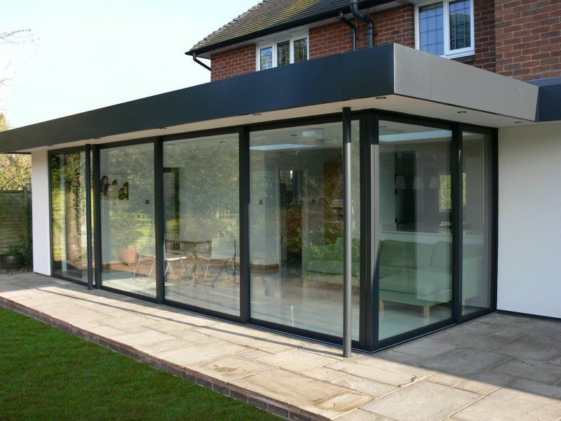 Glass patio enclosure flat roof house patio for Outside doors with glass