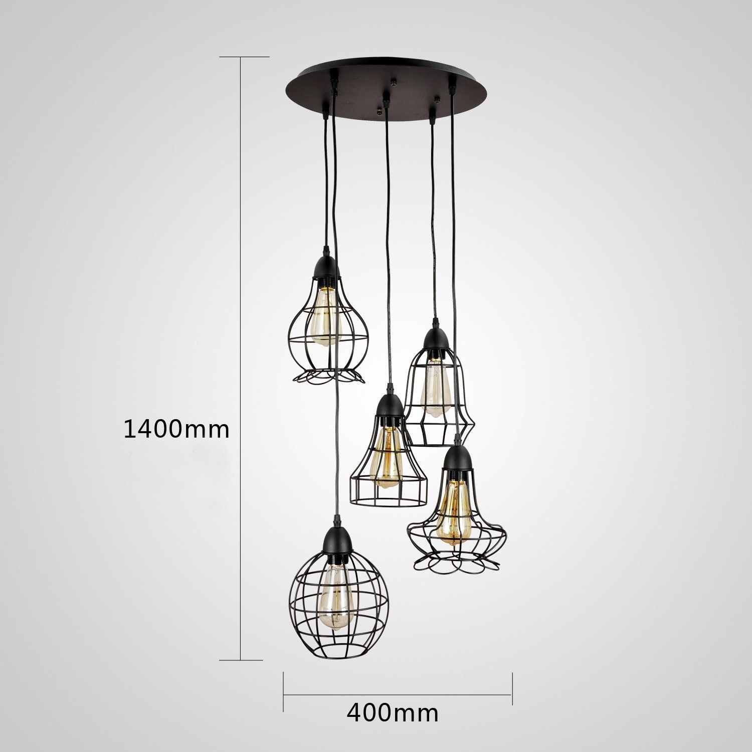 Grande suspension ou lustre vintage 5 ampoules en cage for Suspension metal cuisine