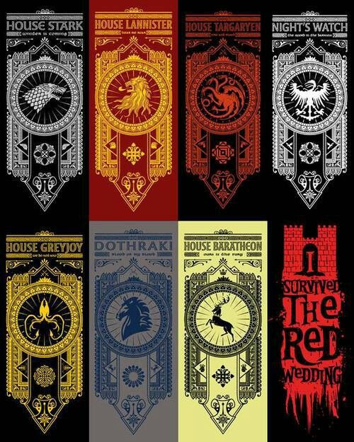 banners game of thrones g o t pinterest cin s rie et cahier. Black Bedroom Furniture Sets. Home Design Ideas