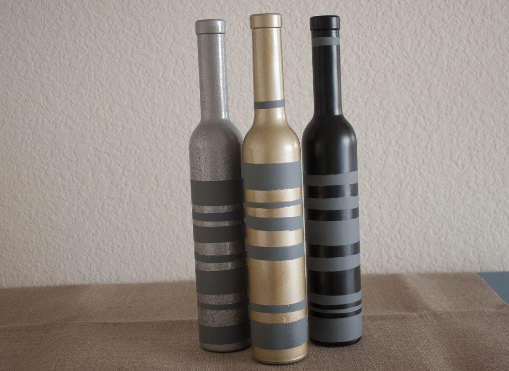 Ideas For Decorating Wine Bottles Striped Wine Bottle Vase On Httpwhitsamusebouche  *diy