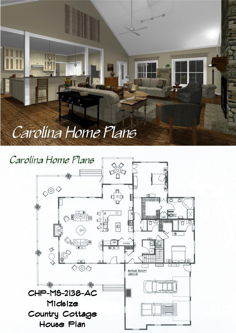 Midsize Country Cottage House Plan With Open Floor Plan Layout House Layout Plans Country Cottage House Plans Country House Plans