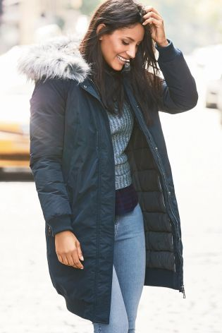 Buy Navy Long Padded Bomber Jacket online today at Next: United ...