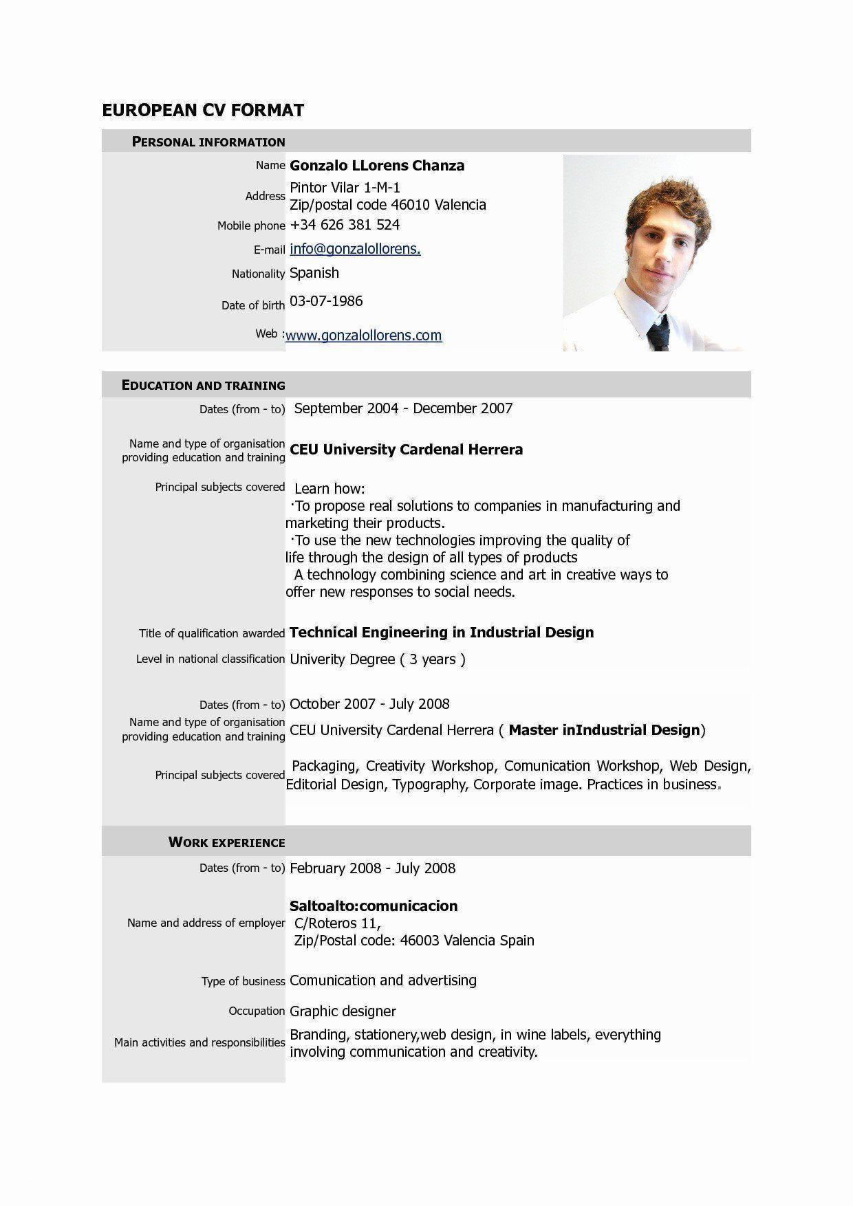 Graphic Designer Resume Template New Professional Graphic Designer Cv Elegant Sample Resume Pdf Cv Format Cv Format For Job Job Resume Format