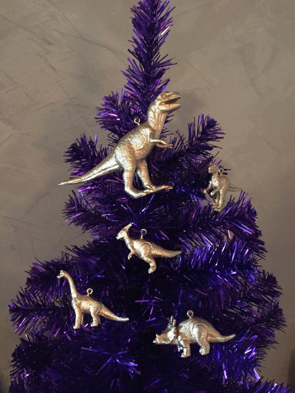 Dinosaur christmas ornaments - Set Of Dinosaur Christmas Or Holiday Tree Ornaments