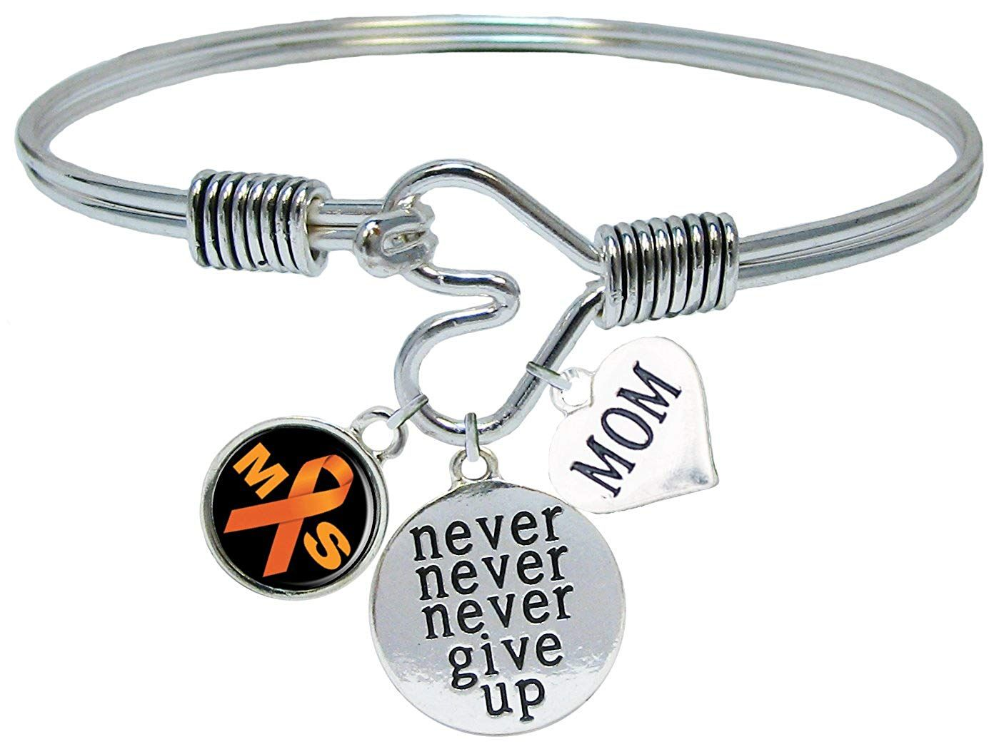 5 3//4 inch Oval Eye Hook Bangle Bracelet with a Cancer Awareness charm.