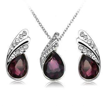 654c4f3a5285 Pendientes Collar de cristal de gota del agua joyería de plata plateado  sistema de la joyería