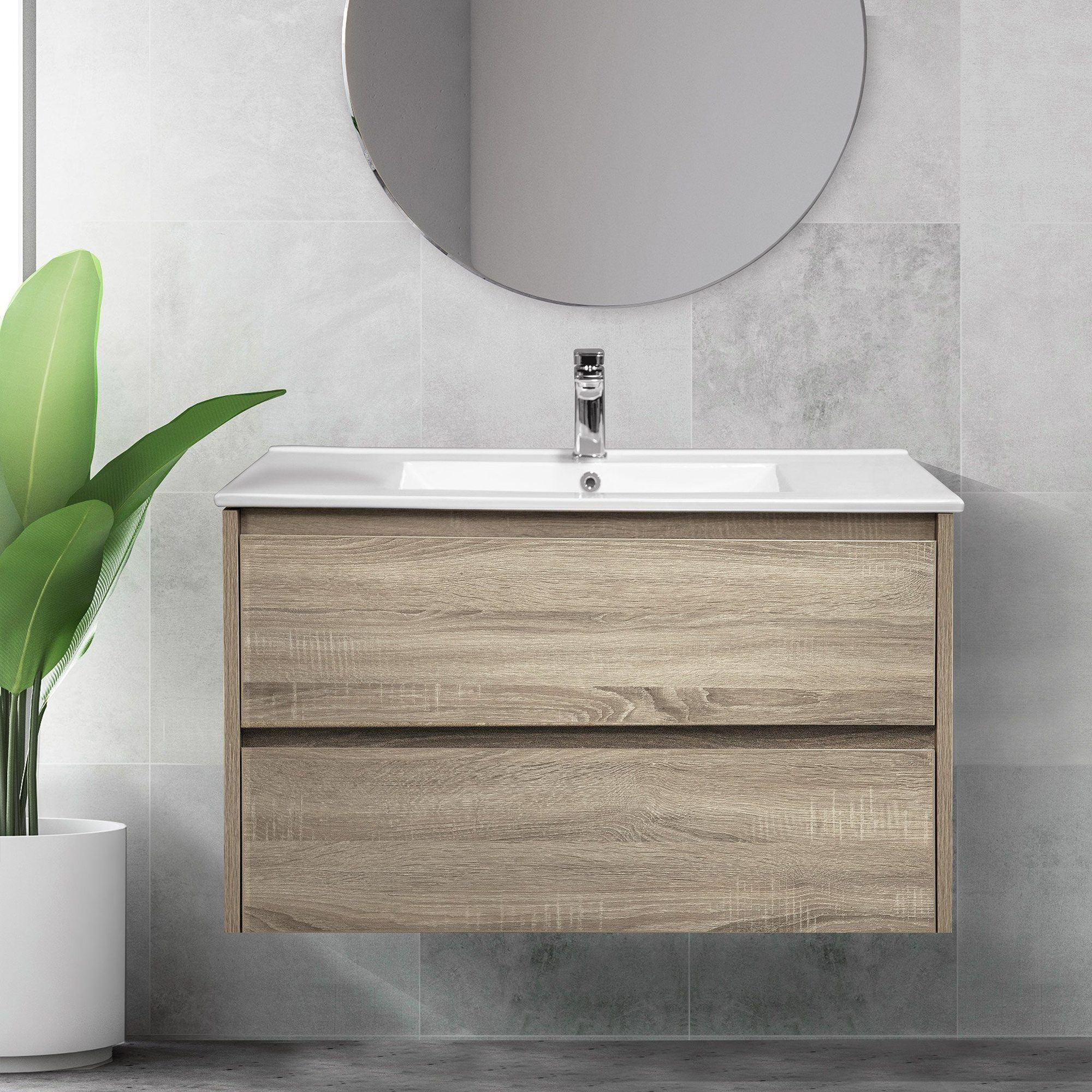 900mm Timber Look Wall Hung Bathroom Vanity Cabinet Melbourne Arova Kitchens In 2020 Wall Hung Bathroom Vanities Wall Hung Vanity Bathroom Vanity Cabinets