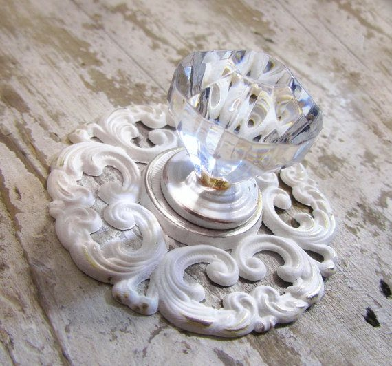 Pair of GlassLook Knobs with Shabby White Base and by TheDoorStop, $20.00